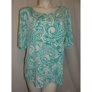 A215617 Blue Print Liquid Knit Split Sleeve Tunic